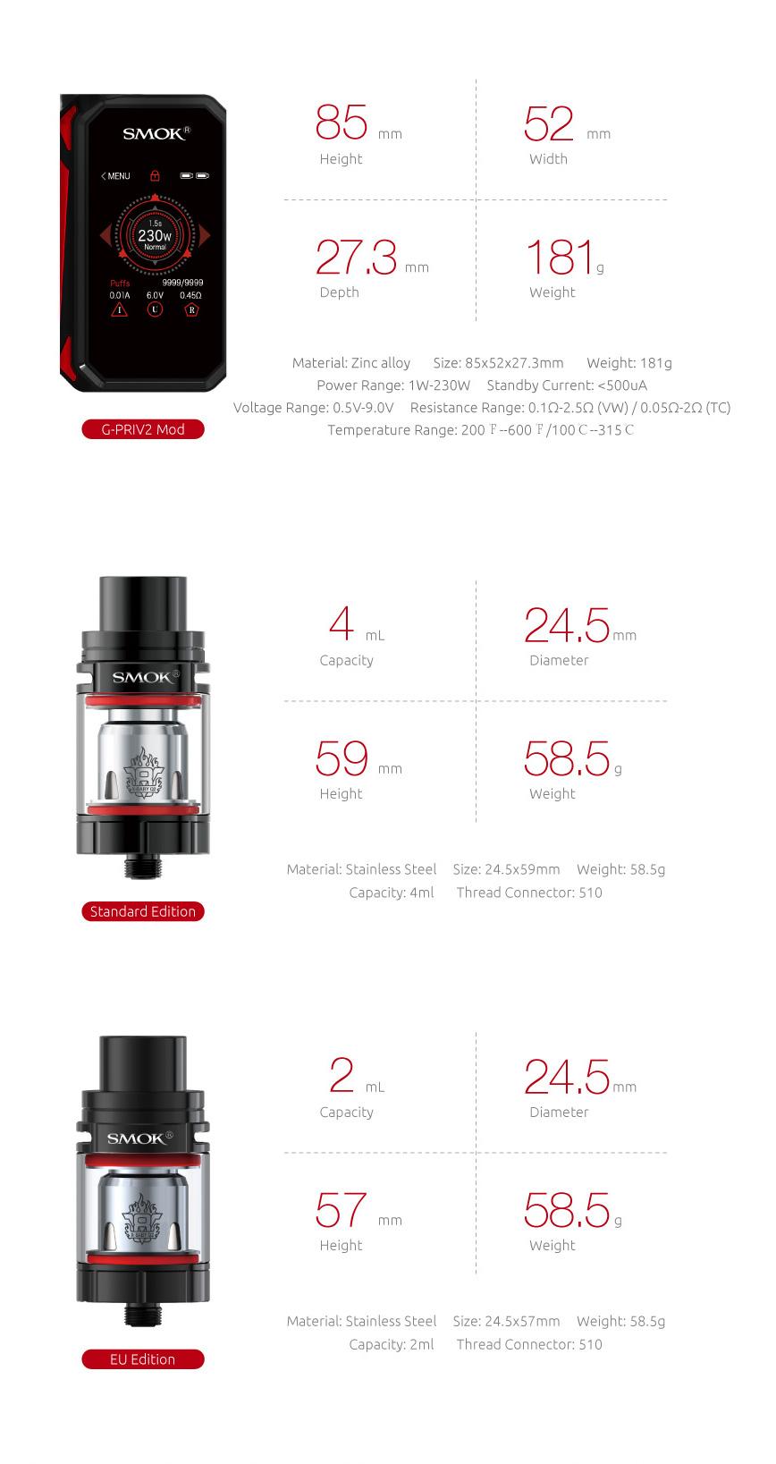 Specifications of SMOK G-Priv 2 Kit&Mod