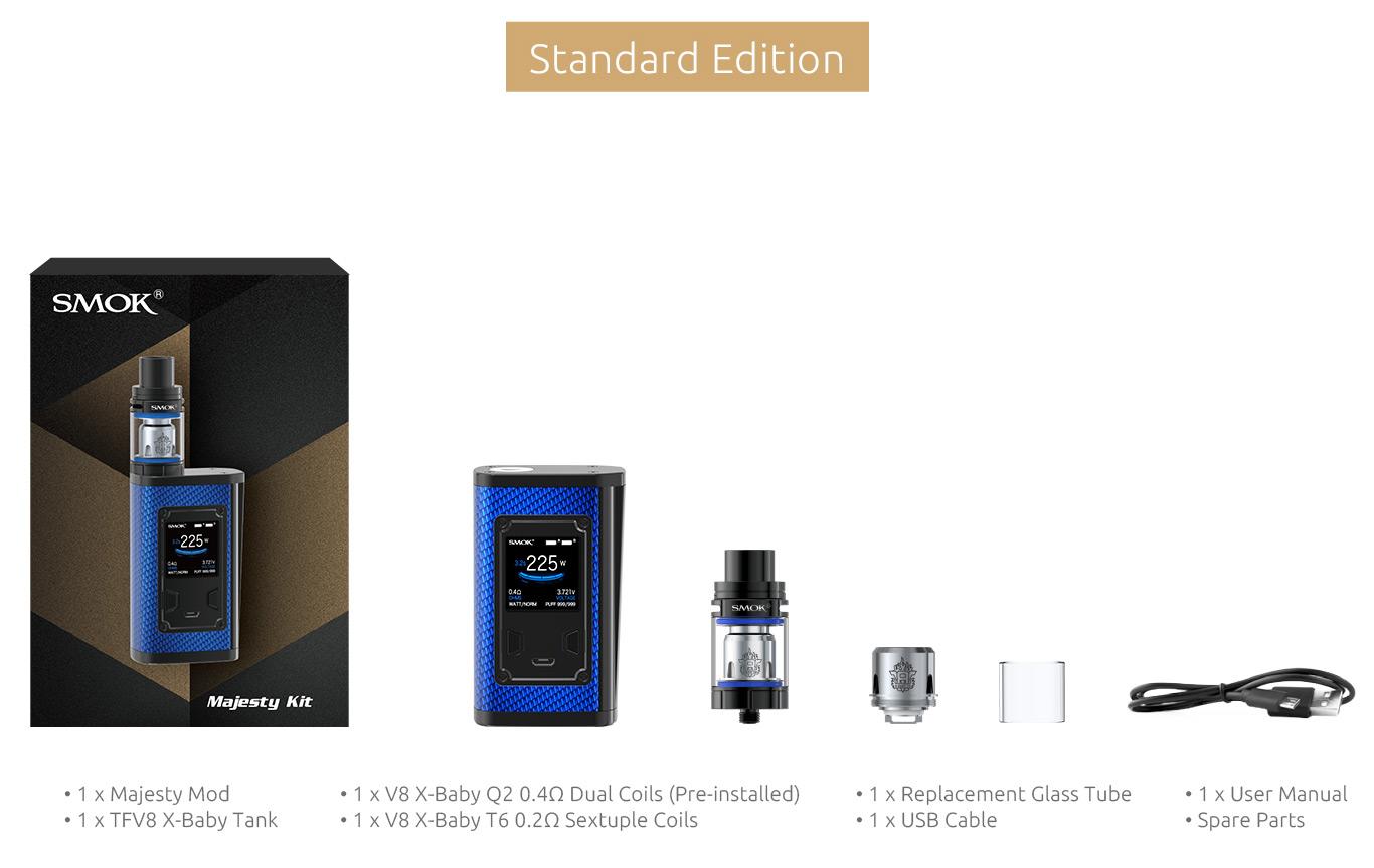 Smok Majesty e-sigarett sett innhold