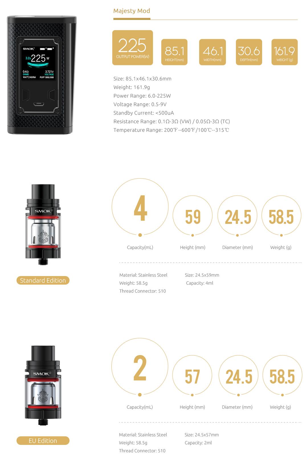 Smok Majesty e-sigarett spesifikasjoner