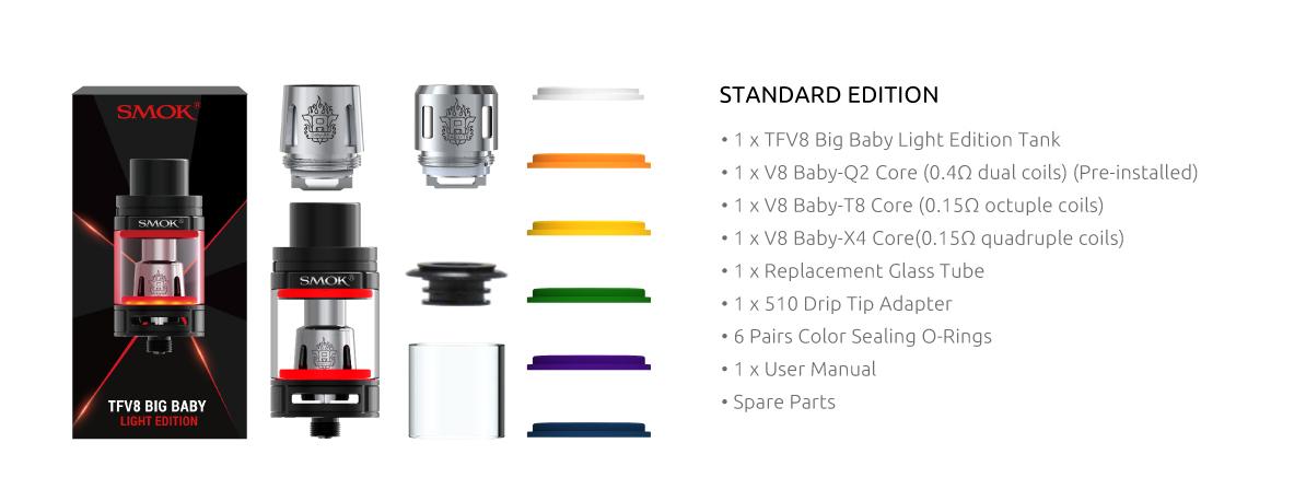 smok tfv8 big baby light edition (led) vape tank