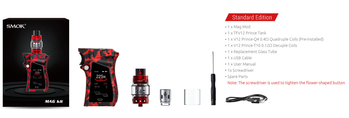 The Kit Includes of SMOK Mag 225W Mod