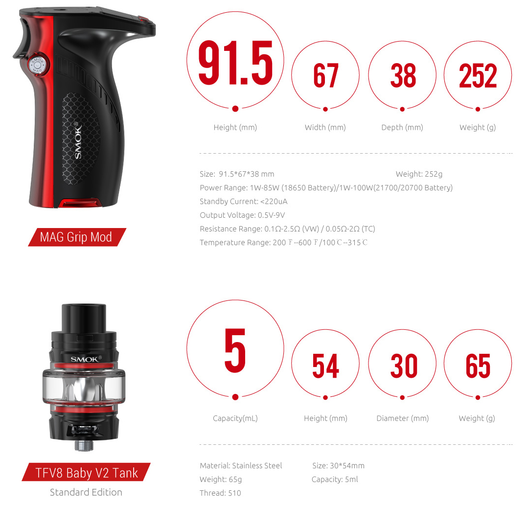 Specification of SMOK Mag Grip Mod&Tank