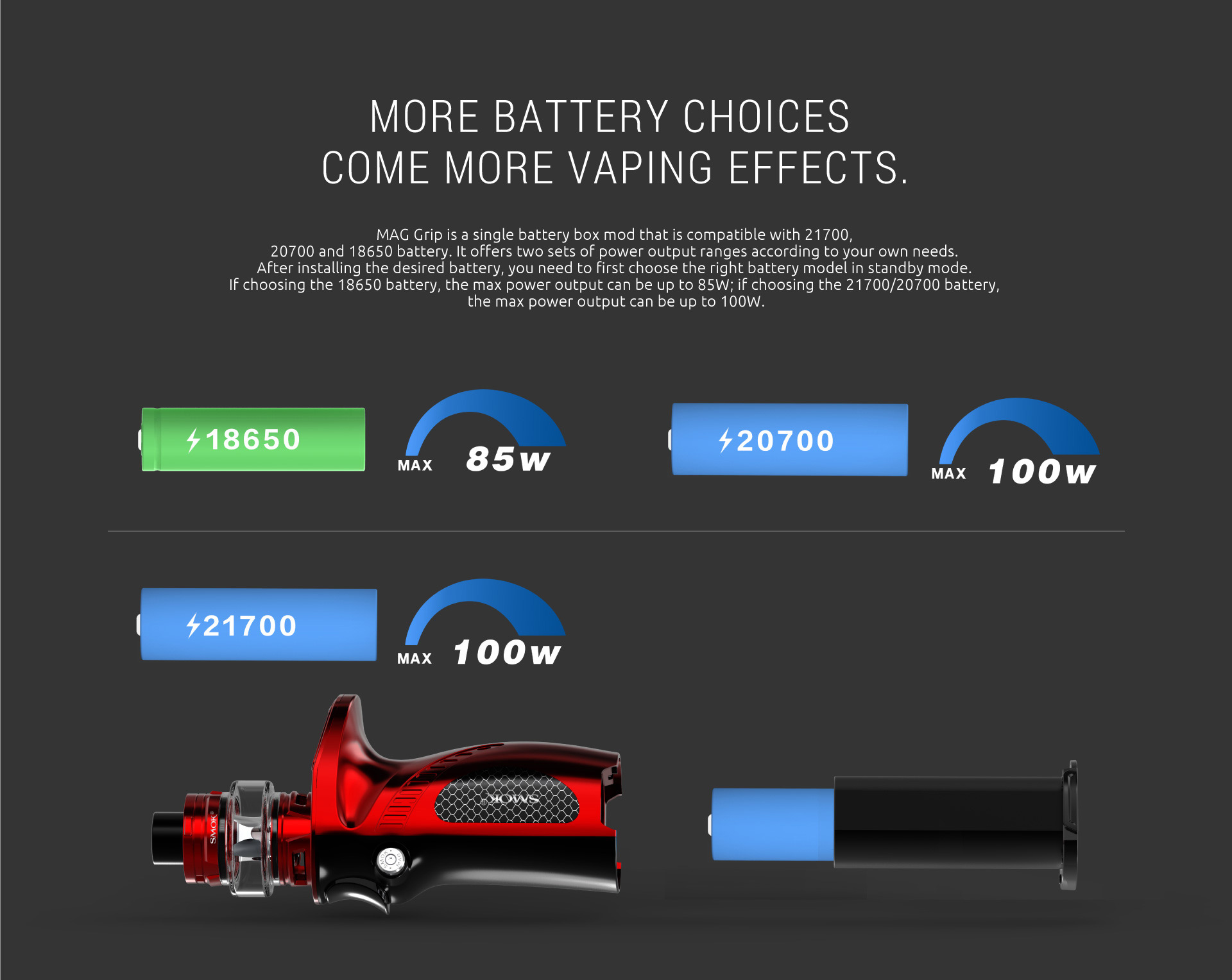 SMOK Mag Grip with More Battery Choices Come More Vaping Effects