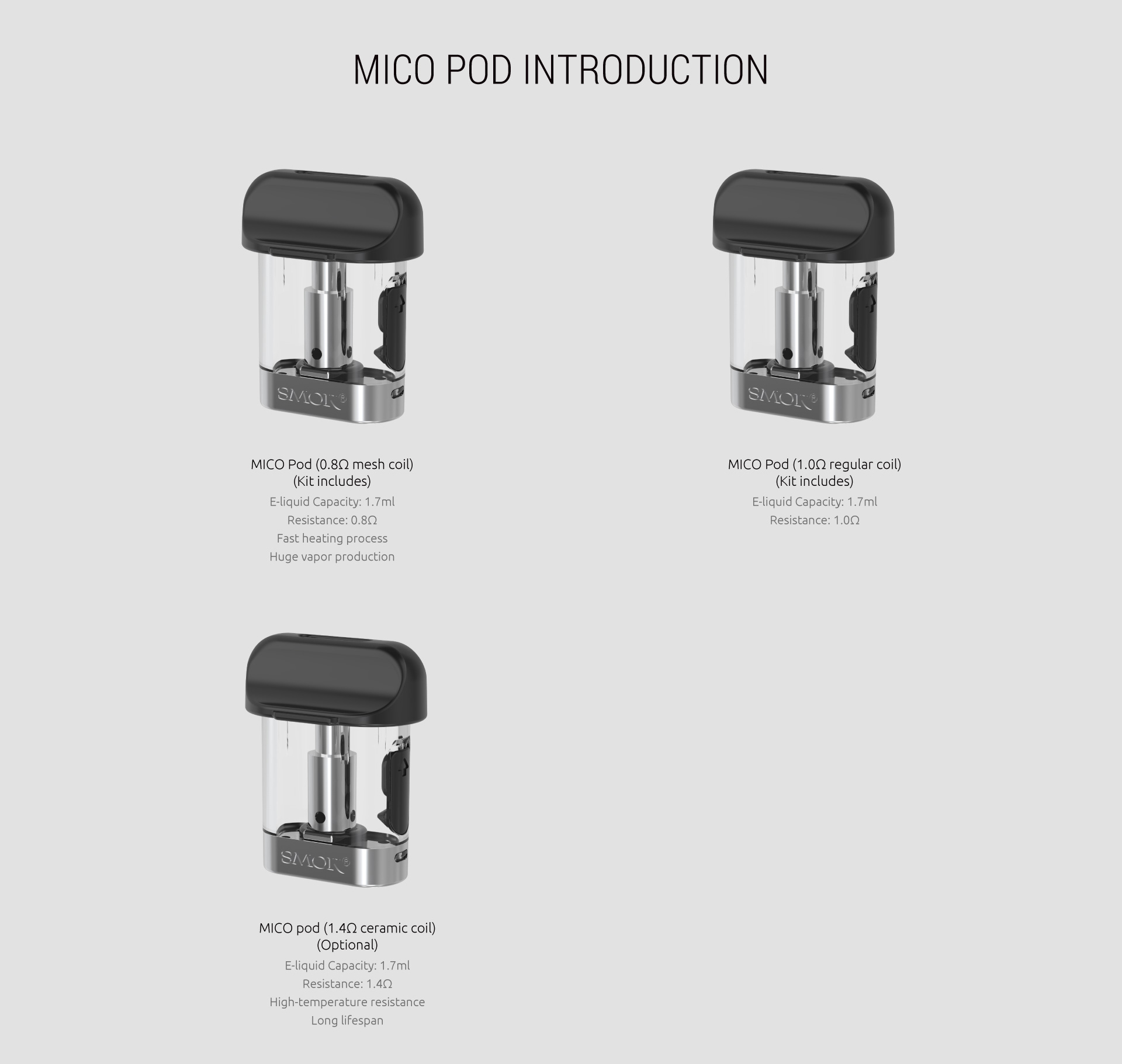 Replacement Pod Cartridges For Smok Mico  Kit 3PCS Introduction