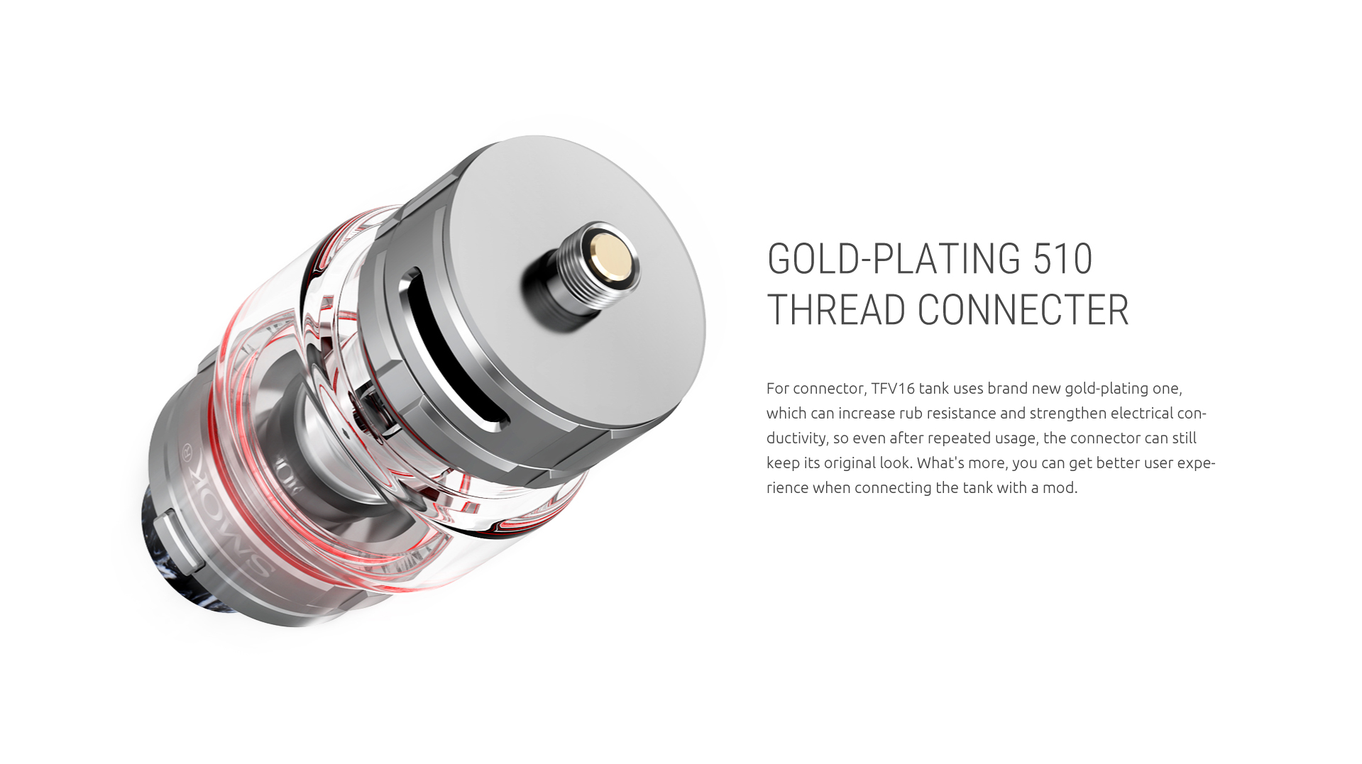 Gold-Plating 510 Thread Connecter for SMOK TFV16 Tank