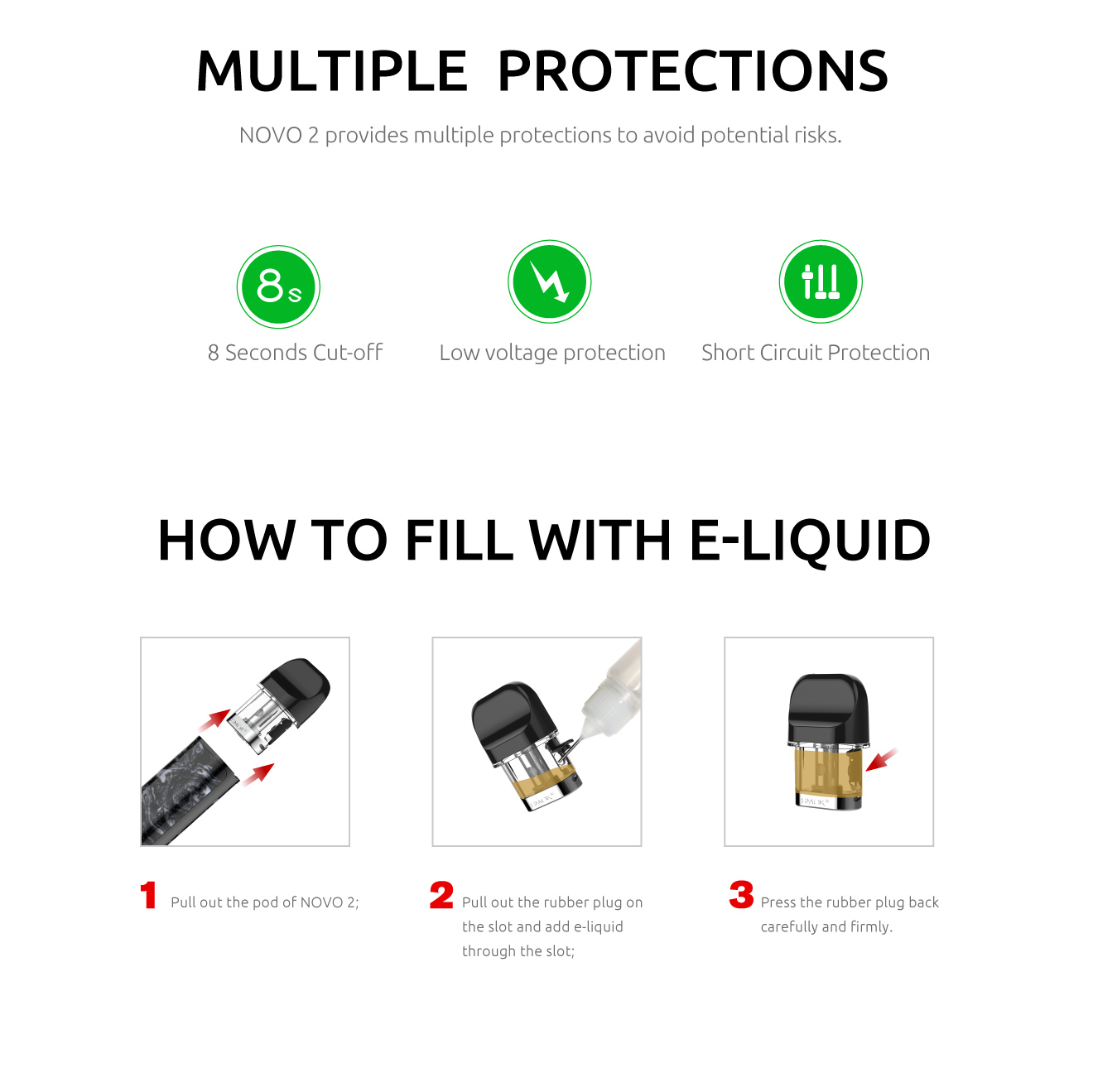 Multiple Protections and E-Liquid Filling Instructions for SMOK NOVO 2 Kit