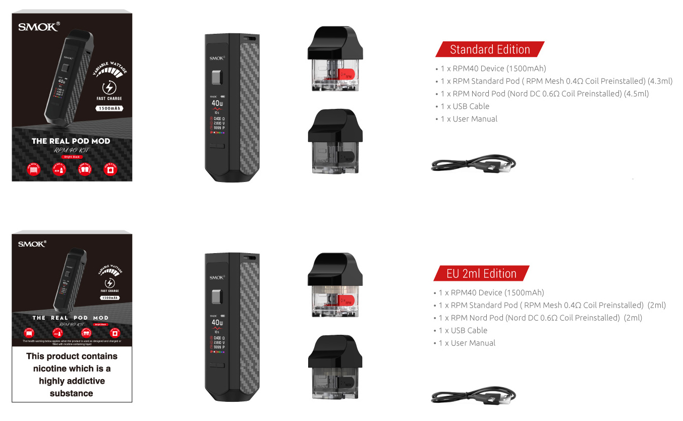Smok RPM40 Pod Kit Packaging