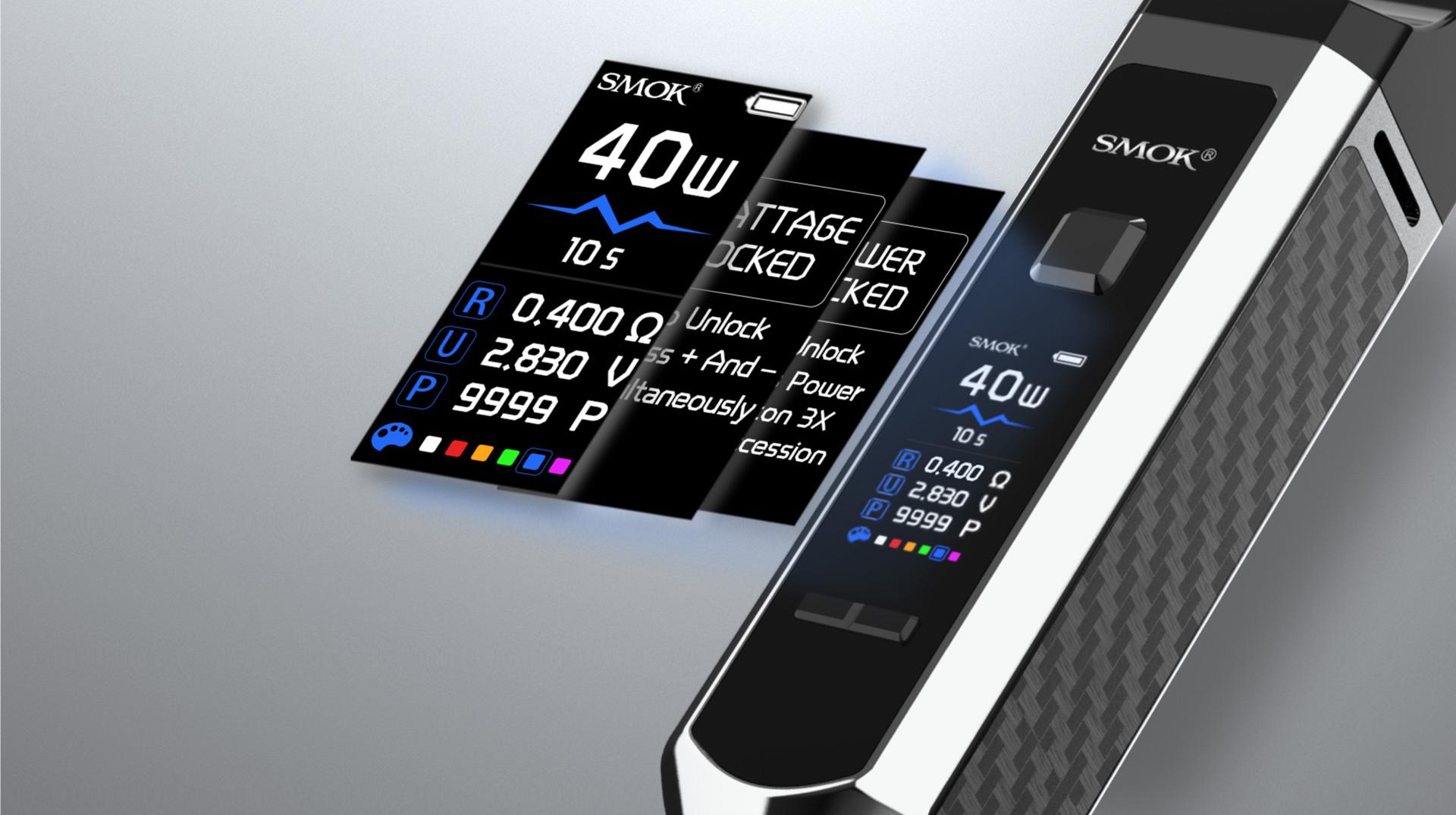 SMOK RPM40'ın Ekranı Çok Bilgiyi Gösterir