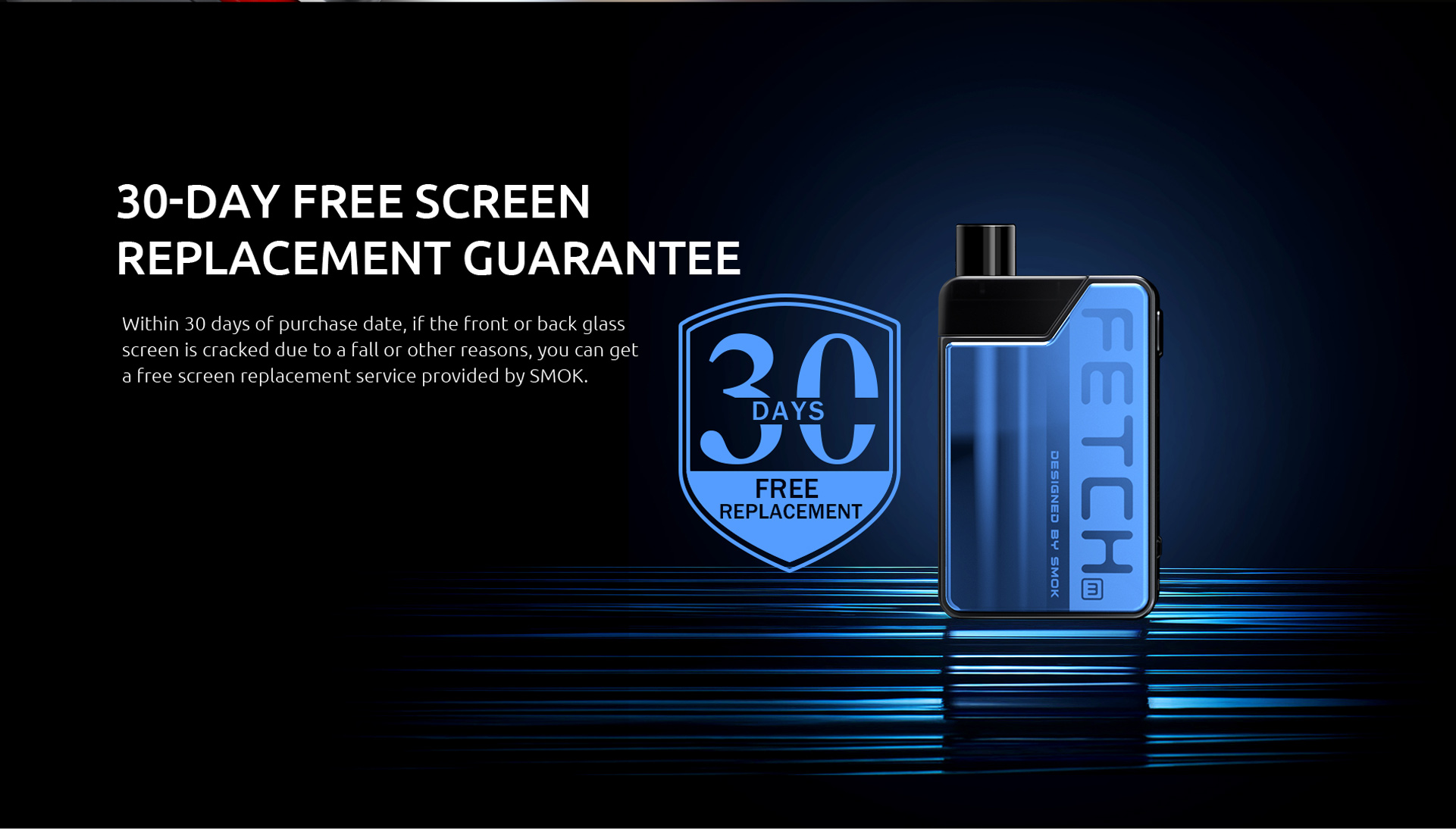 SMOK Fetch Mini Has 30-Day Free Screen Replacement Guarantee