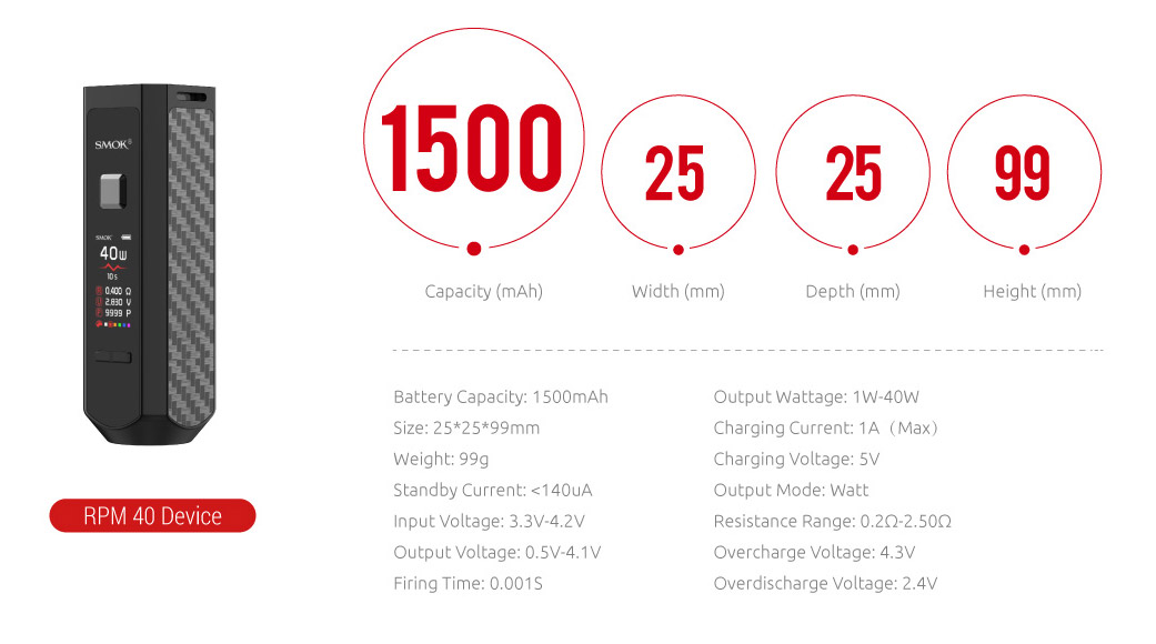 SMOK RPM40 Device has 1500mAh Capacity